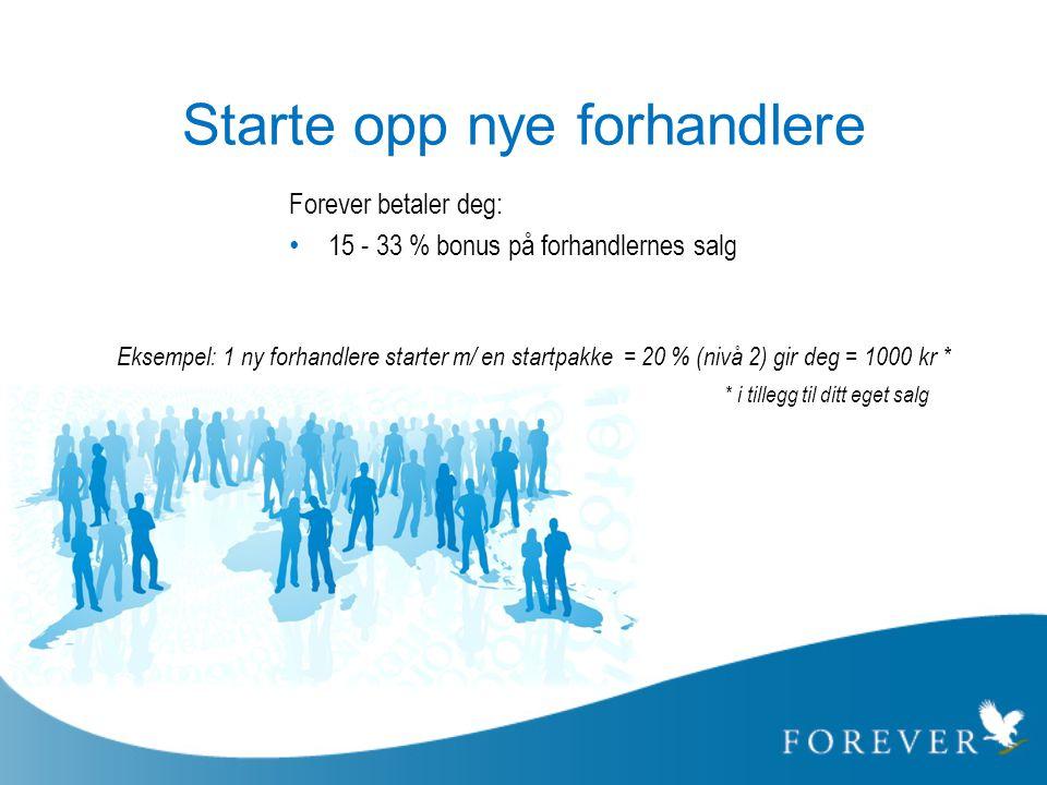 Starte opp nye forhandlere Forever betaler deg: • 15 - 33 % bonus på forhandlernes salg Eksempel: 1 ny forhandlere starter m/ en startpakke = 20 % (ni