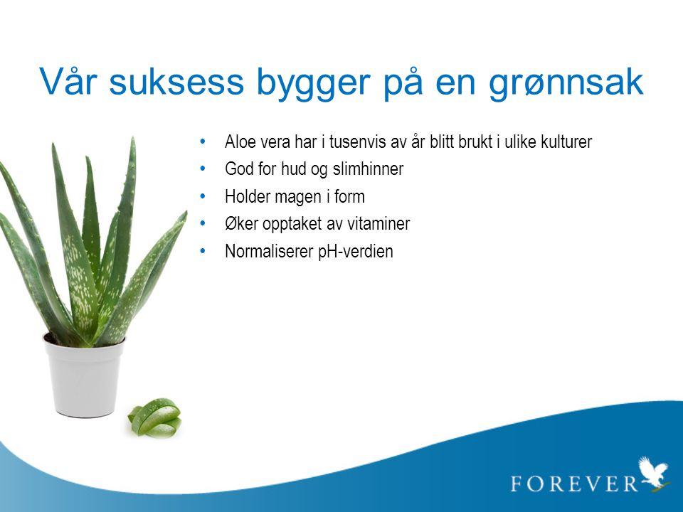 Vår suksess bygger på en grønnsak • Aloe vera har i tusenvis av år blitt brukt i ulike kulturer • God for hud og slimhinner • Holder magen i form • Øk