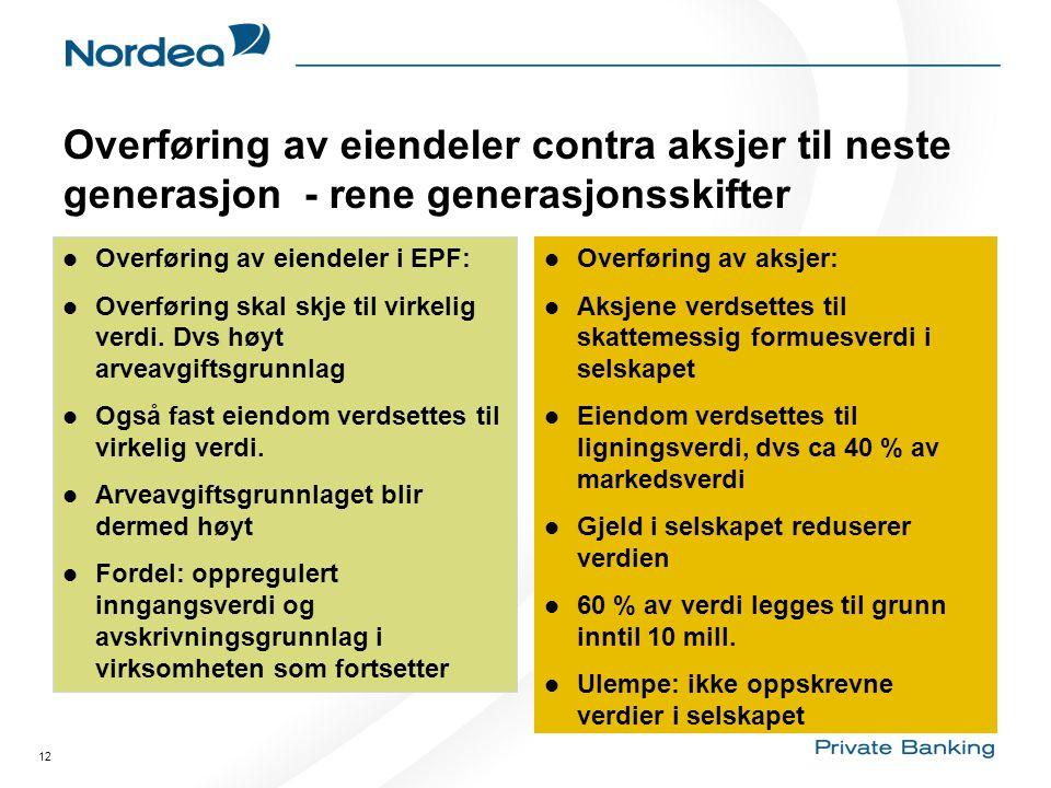 12 Overføring av eiendeler contra aksjer til neste generasjon - rene generasjonsskifter  Overføring av eiendeler i EPF:  Overføring skal skje til vi