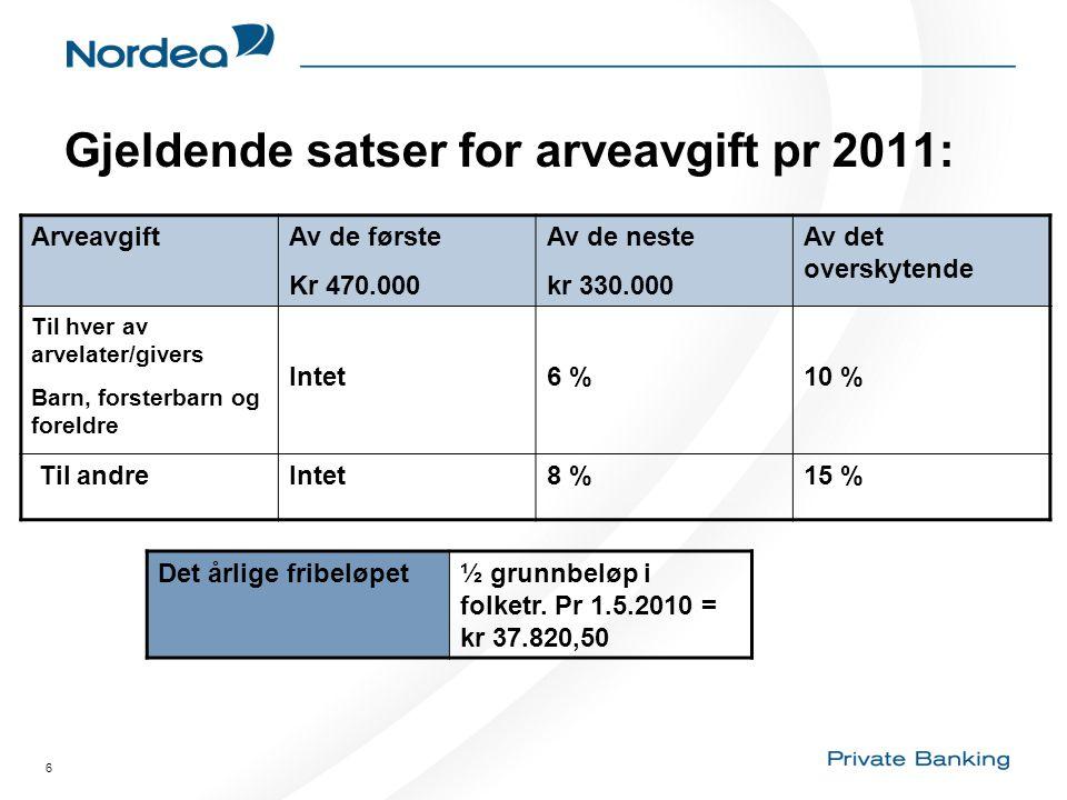 6 Gjeldende satser for arveavgift pr 2011: ArveavgiftAv de første Kr 470.000 Av de neste kr 330.000 Av det overskytende Til hver av arvelater/givers B