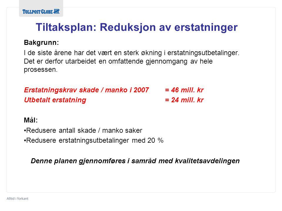 Tiltaksplan: Reduksjon av erstatninger Bakgrunn: I de siste årene har det vært en sterk økning i erstatningsutbetalinger. Det er derfor utarbeidet en