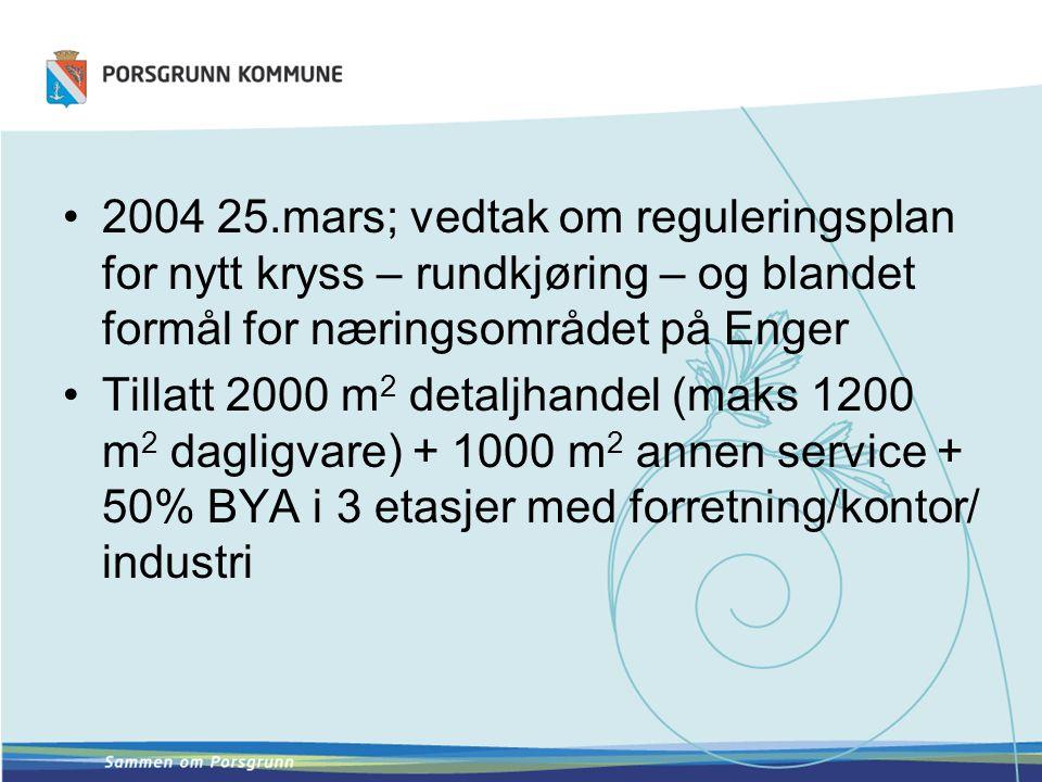 •2004 25.mars; vedtak om reguleringsplan for nytt kryss – rundkjøring – og blandet formål for næringsområdet på Enger •Tillatt 2000 m 2 detaljhandel (maks 1200 m 2 dagligvare) + 1000 m 2 annen service + 50% BYA i 3 etasjer med forretning/kontor/ industri