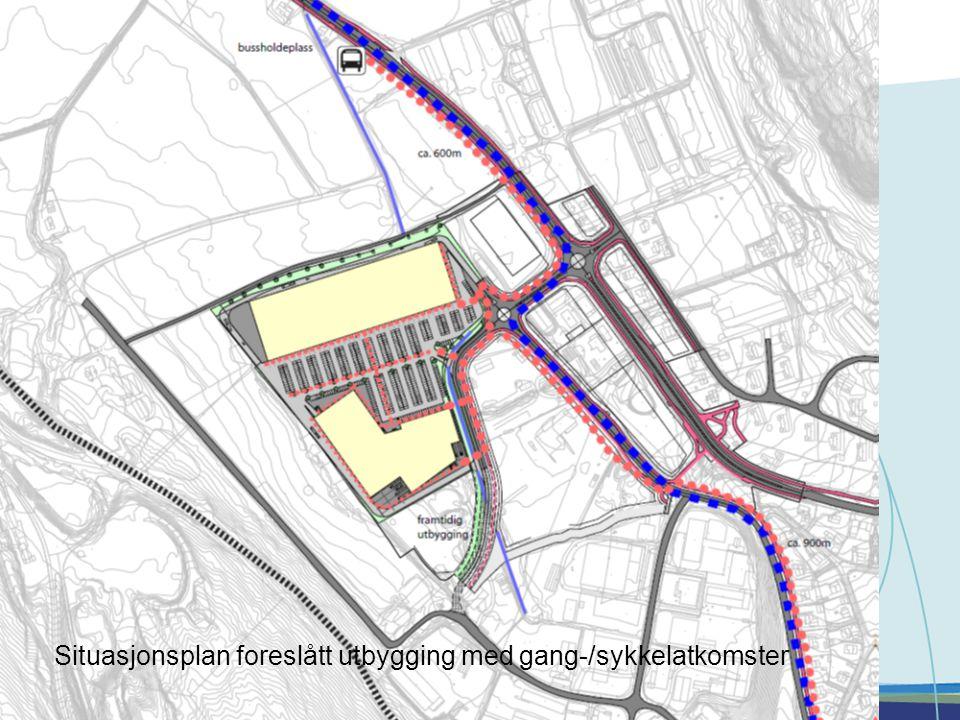 Situasjonsplan foreslått utbygging med gang-/sykkelatkomster