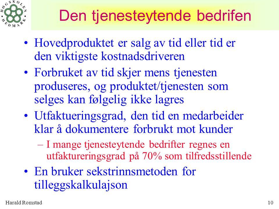 Harald Romstad10 Den tjenesteytende bedrifen •Hovedproduktet er salg av tid eller tid er den viktigste kostnadsdriveren •Forbruket av tid skjer mens t