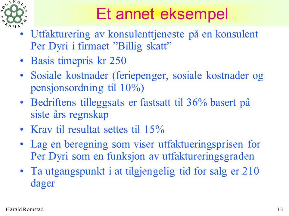 """Harald Romstad13 Et annet eksempel •Utfakturering av konsulenttjeneste på en konsulent Per Dyri i firmaet """"Billig skatt"""" •Basis timepris kr 250 •Sosia"""