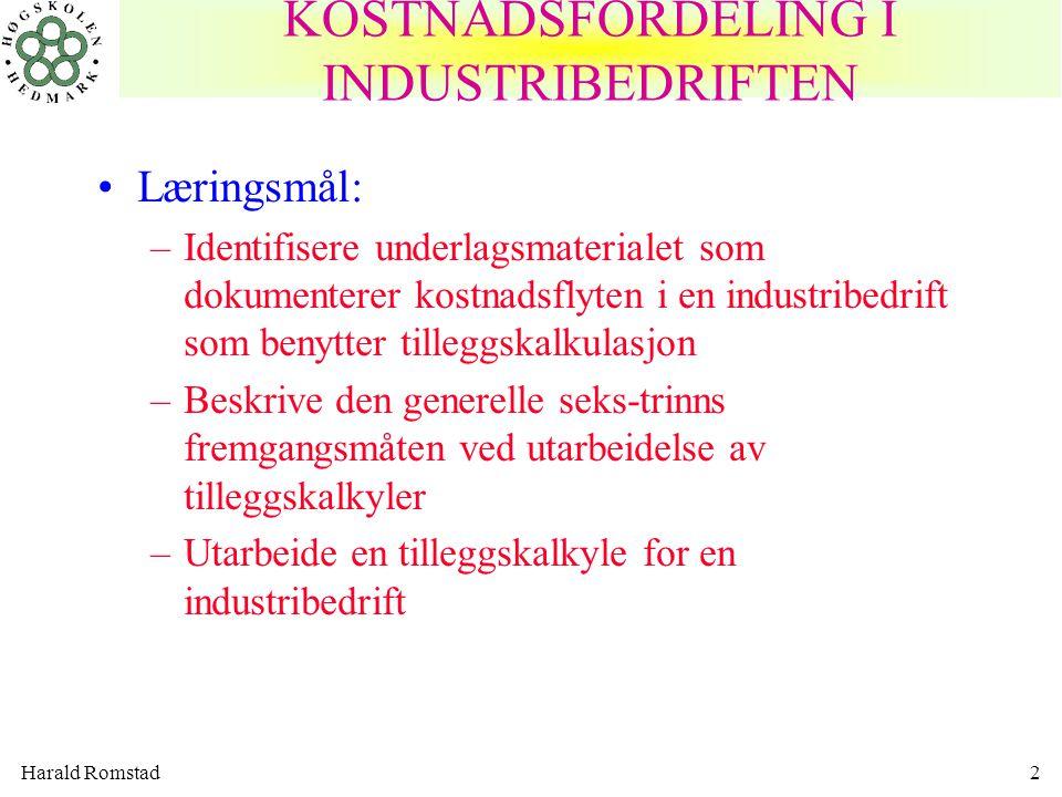 Harald Romstad2 •Læringsmål: –Identifisere underlagsmaterialet som dokumenterer kostnadsflyten i en industribedrift som benytter tilleggskalkulasjon –