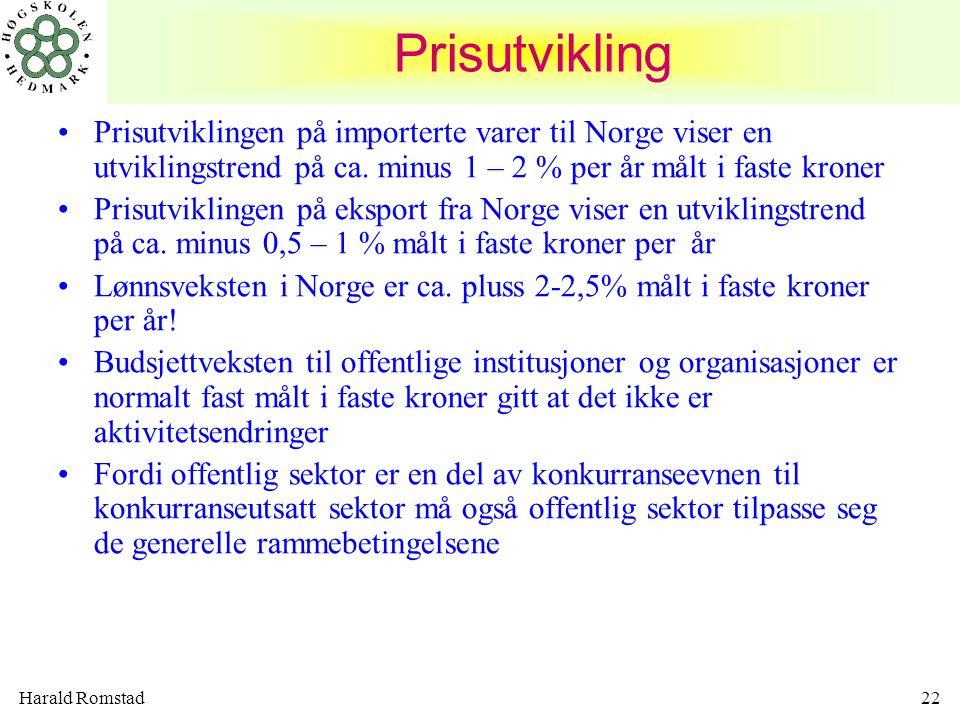 Harald Romstad22 Prisutvikling •Prisutviklingen på importerte varer til Norge viser en utviklingstrend på ca. minus 1 – 2 % per år målt i faste kroner