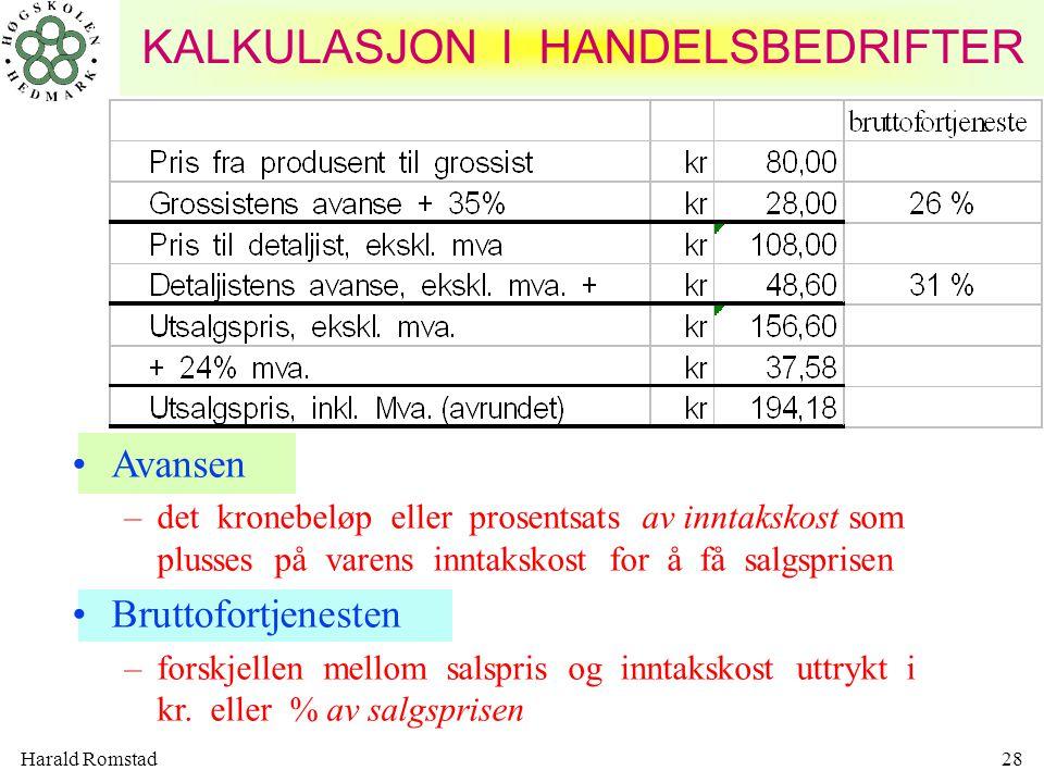 Harald Romstad28 •Avansen –det kronebeløp eller prosentsats av inntakskost som plusses på varens inntakskost for å få salgsprisen •Bruttofortjenesten