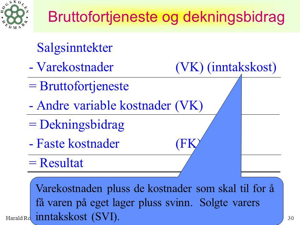 Harald Romstad30 Bruttofortjeneste og dekningsbidrag Salgsinntekter - Varekostnader (VK) (inntakskost) = Bruttofortjeneste - Andre variable kostnader
