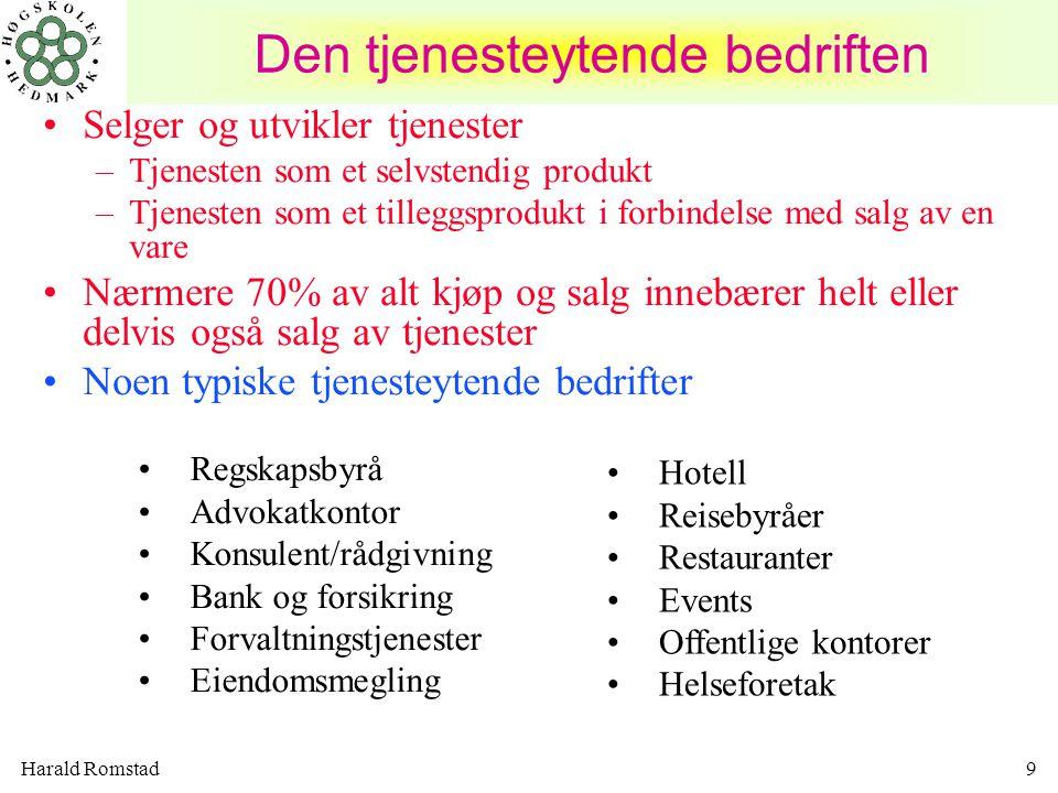 Harald Romstad9 Den tjenesteytende bedriften •Selger og utvikler tjenester –Tjenesten som et selvstendig produkt –Tjenesten som et tilleggsprodukt i f