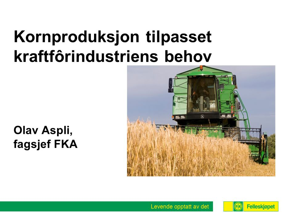 Kornproduksjon tilpasset kraftfôrindustriens behov Olav Aspli, fagsjef FKA