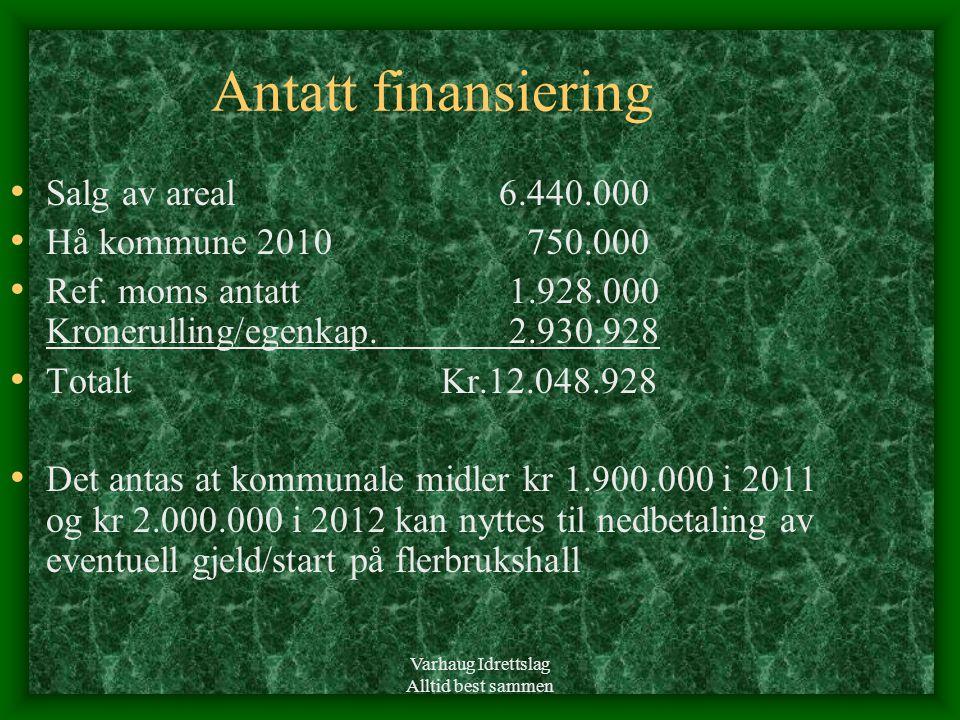 Varhaug Idrettslag Alltid best sammen Antatt finansiering • Salg av areal 6.440.000 • Hå kommune 2010 750.000 • Ref.