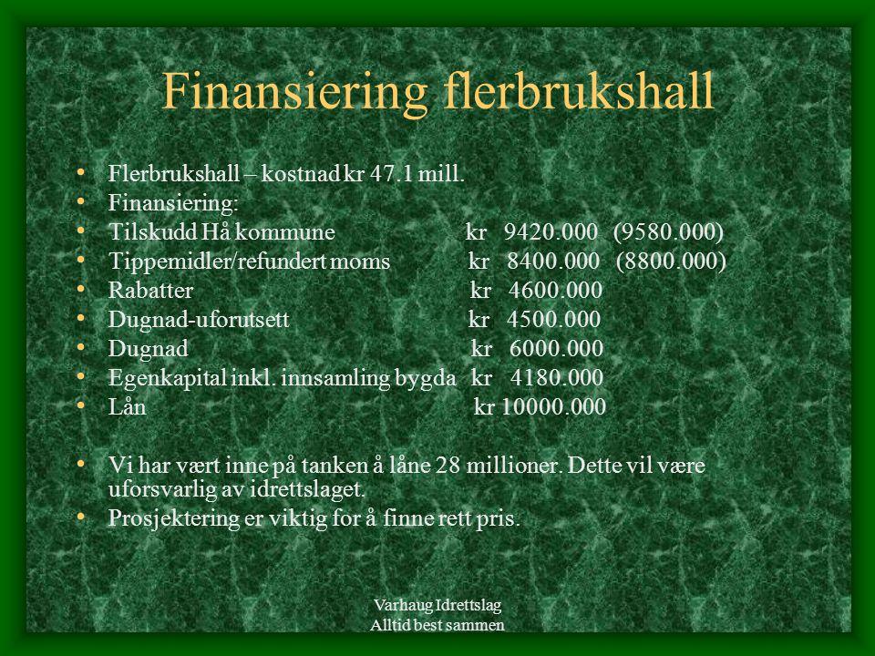 Varhaug Idrettslag Alltid best sammen Finansiering flerbrukshall • Flerbrukshall – kostnad kr 47.1 mill. • Finansiering: • Tilskudd Hå kommune kr 9420