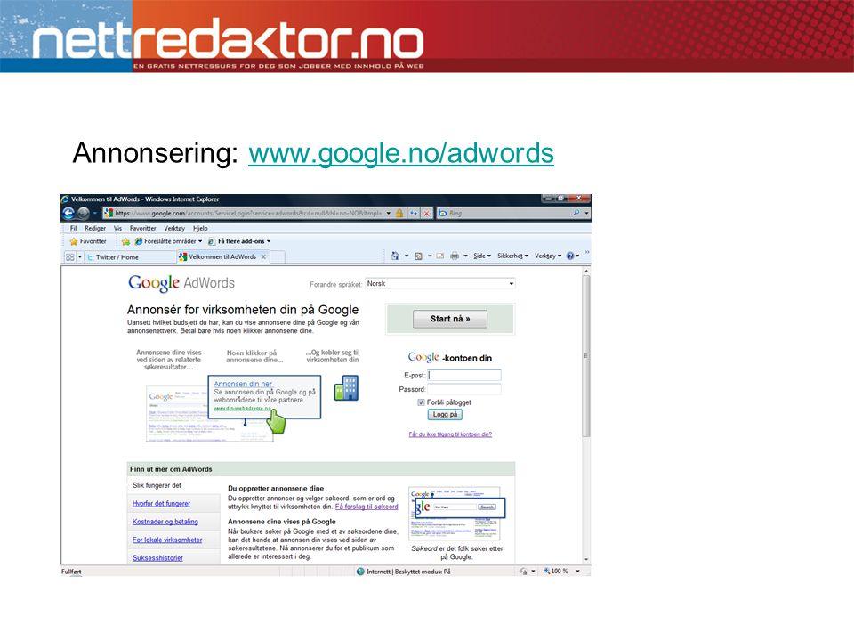 Annonsering: www.google.no/adwordswww.google.no/adwords