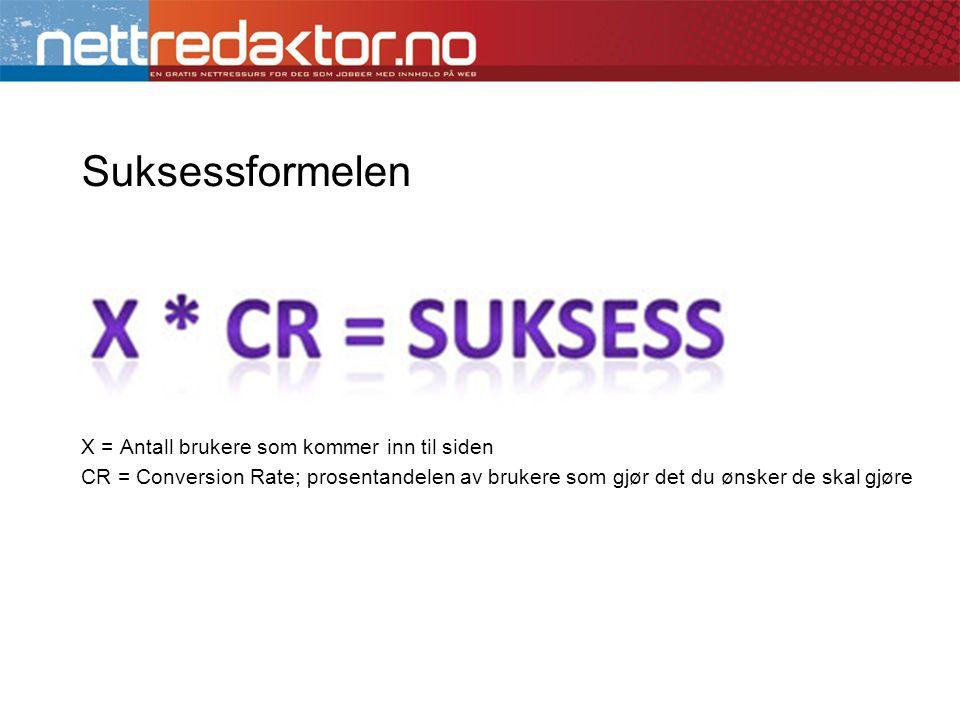 Suksessformelen X = Antall brukere som kommer inn til siden CR = Conversion Rate; prosentandelen av brukere som gjør det du ønsker de skal gjøre