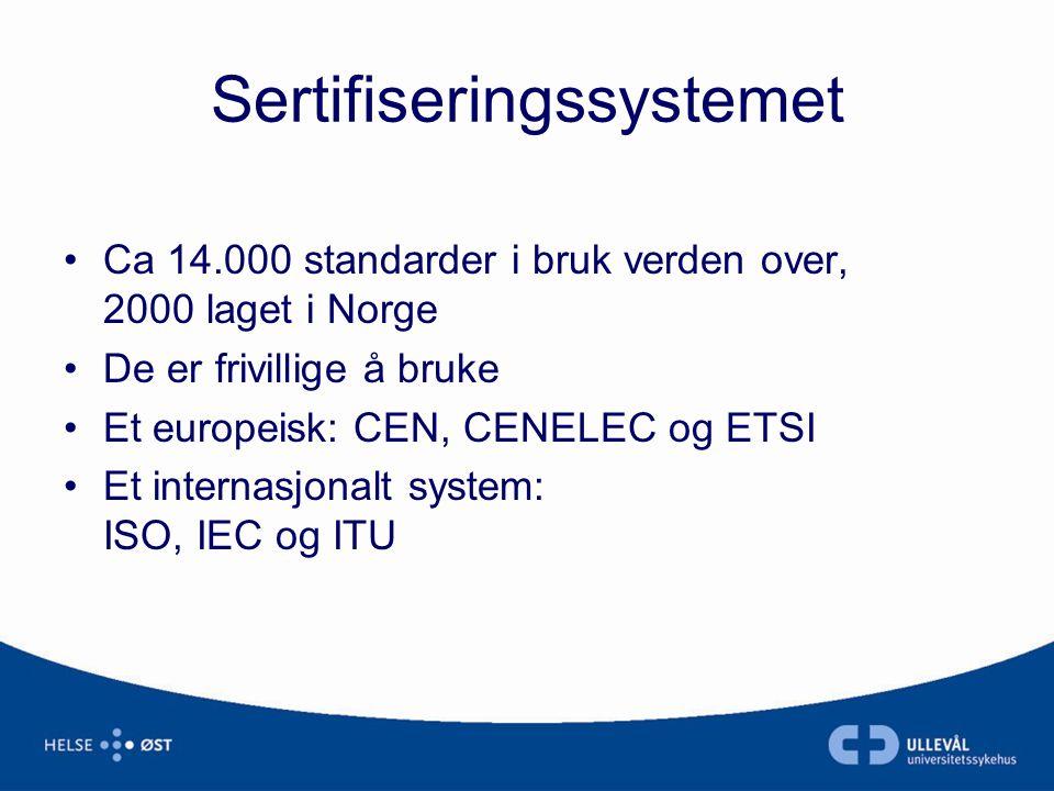 Sertifiseringssystemet •Ca 14.000 standarder i bruk verden over, 2000 laget i Norge •De er frivillige å bruke •Et europeisk: CEN, CENELEC og ETSI •Et