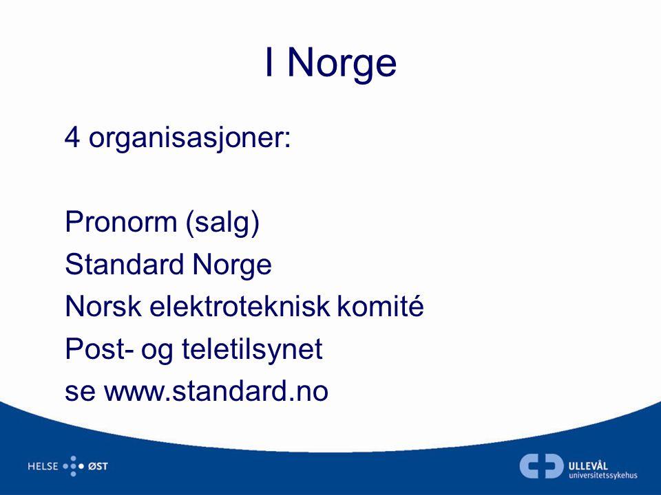 I Norge 4 organisasjoner: Pronorm (salg) Standard Norge Norsk elektroteknisk komité Post- og teletilsynet se www.standard.no