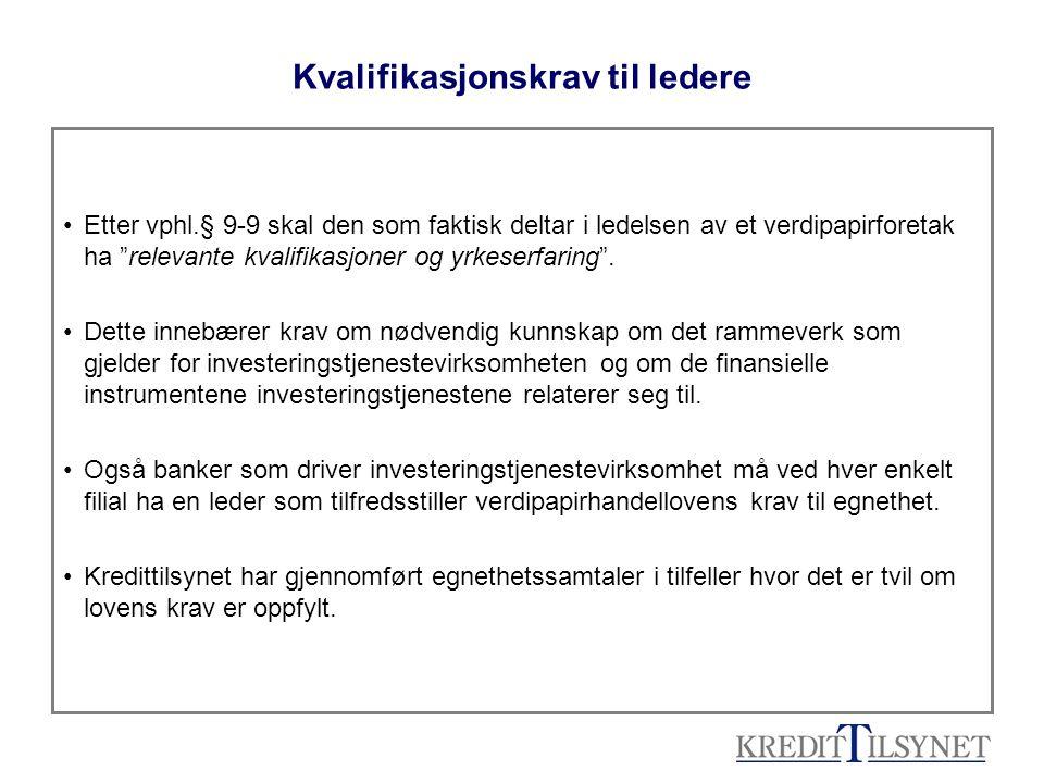 Nye utfordringer: •Warrants/ gearingsertifikater –komplekse instrumenter – ikke-profesjonelle kunder vil normalt ikke ha nødvendig kunnskap og erfaring –omfattende kostnadselementer - vil normalt ikke gi avkastning i samsvar med kundens investeringsmål •Forslag om å kunne etablere og markedsføre spesialfond i Norge (Ot prp nr 36 (2006-2008): –Tilsyn og kontroll med fond som forvaltes med en mer fleksibel investeringsstrategi enn alminnelig verdipapirfond –Unntak fra verdipapirfondlovens regler om tillatt investeringsområde, krav til risikospredning, forbud mot å ta opp lån og forbudet mot å selge finansielle instrumenter fondet ikke eier (shortsalg) –Spesialfond skal kunne lukkes for utstedelse og innløsning av andeler i perioder på inntil ett år –Markedsføring og salg til privatpersoner forutsetter forutgående investeringsrådgivning etter verdipapirhandelloven –Investeringen skal være egnet for kunden