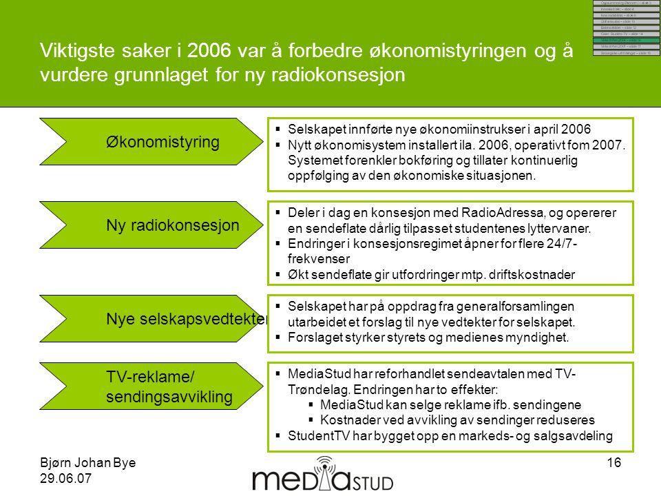 Bjørn Johan Bye 29.06.07 16 Viktigste saker i 2006 var å forbedre økonomistyringen og å vurdere grunnlaget for ny radiokonsesjon Økonomistyring Ny rad