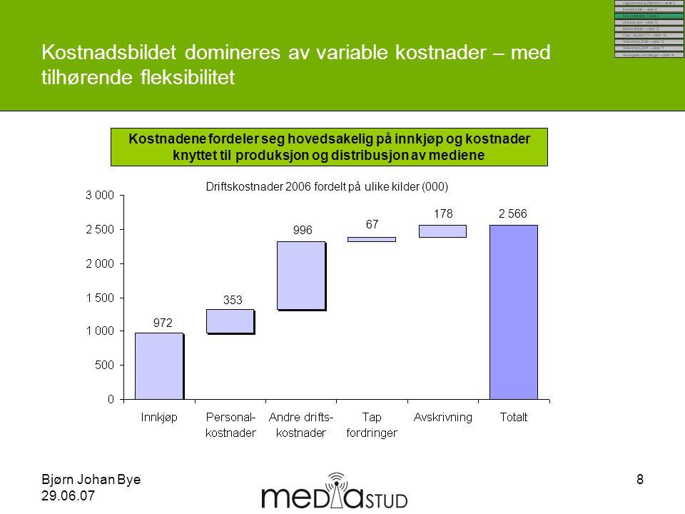 Bjørn Johan Bye 29.06.07 8 Kostnadsbildet domineres av variable kostnader – med tilhørende fleksibilitet Kostnadene fordeler seg hovedsakelig på innkj