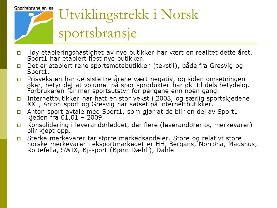 Utviklingstrekk i Norsk sportsbransje  Høy etableringshastighet av nye butikker har vært en realitet dette året. Sport1 har etablert flest nye butikk