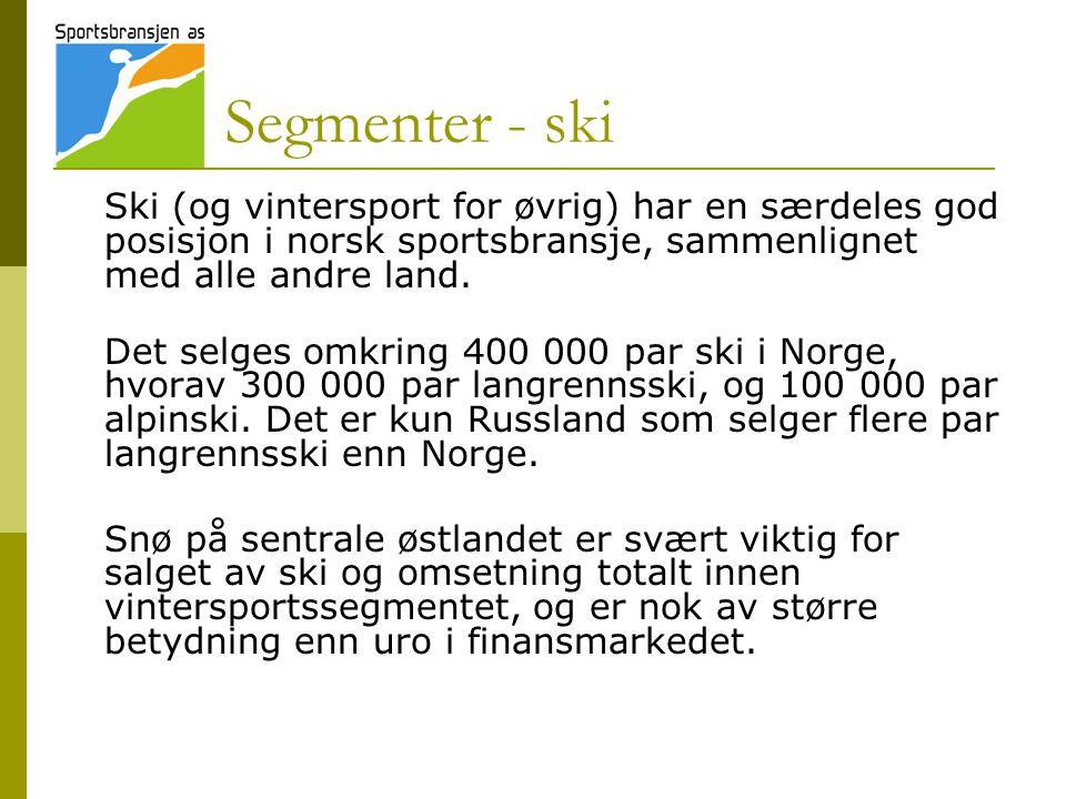 Segmenter - ski Ski (og vintersport for øvrig) har en særdeles god posisjon i norsk sportsbransje, sammenlignet med alle andre land. Det selges omkrin