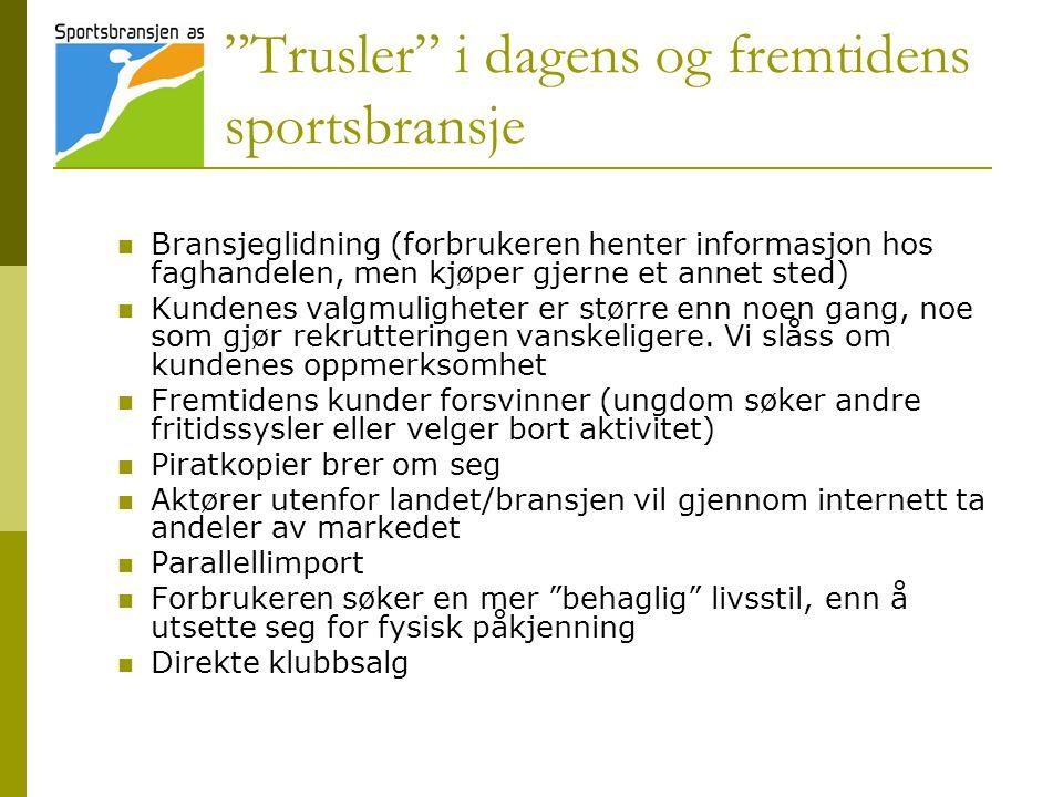 """""""Trusler"""" i dagens og fremtidens sportsbransje  Bransjeglidning (forbrukeren henter informasjon hos faghandelen, men kjøper gjerne et annet sted)  K"""