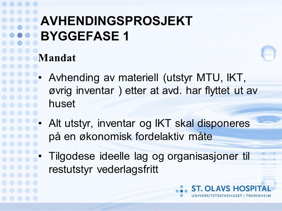 AVHENDINGSPROSJEKT BYGGEFASE 1 Mandat •Avhending av materiell (utstyr MTU, IKT, øvrig inventar ) etter at avd.