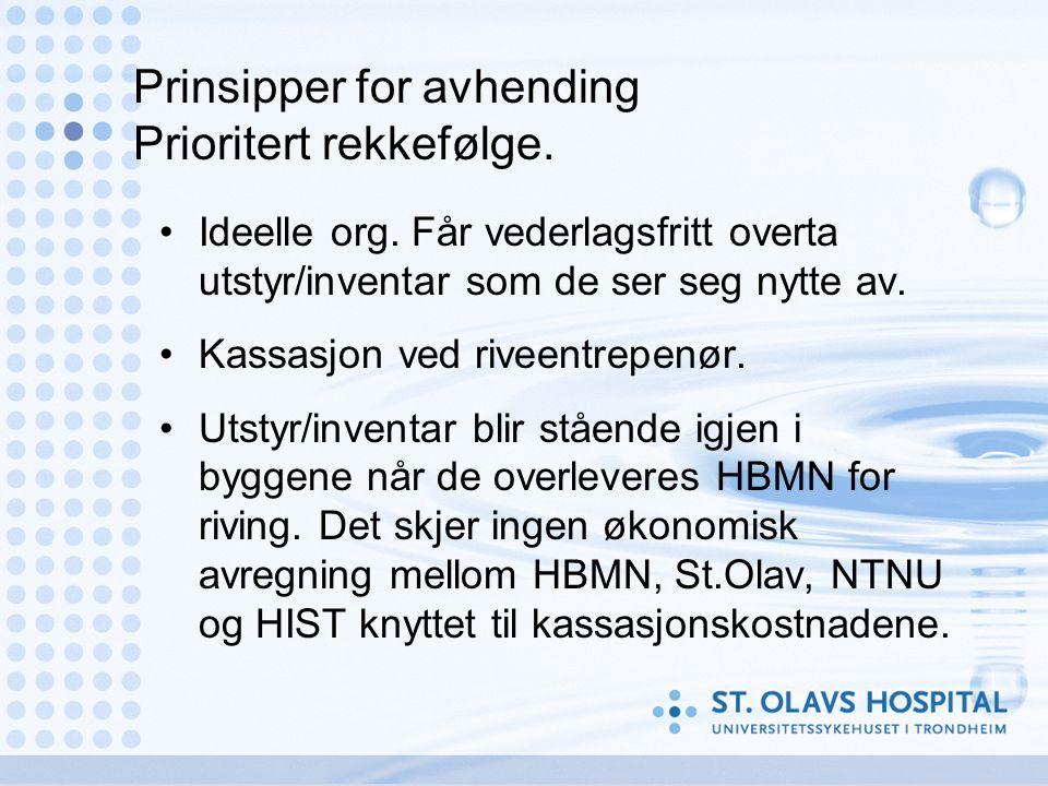 Prinsipper for avhending Prioritert rekkefølge. •Ideelle org.