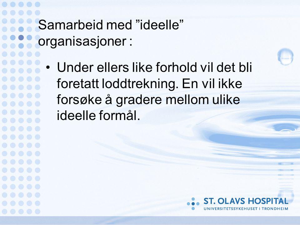 Samarbeid med ideelle organisasjoner : •Under ellers like forhold vil det bli foretatt loddtrekning.
