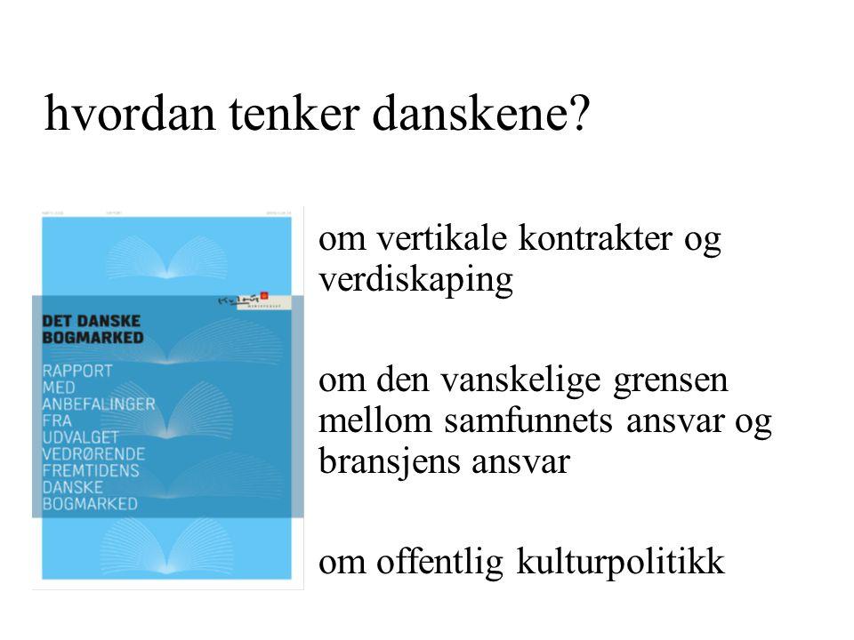 smalle bog pris kanskje opp pris ned inn i supermarkeder samlet boksalg opp pris kanskje opp pris kanskje ned mindre på lager færre titler Kulturpolitikk Danske rapportens kap.