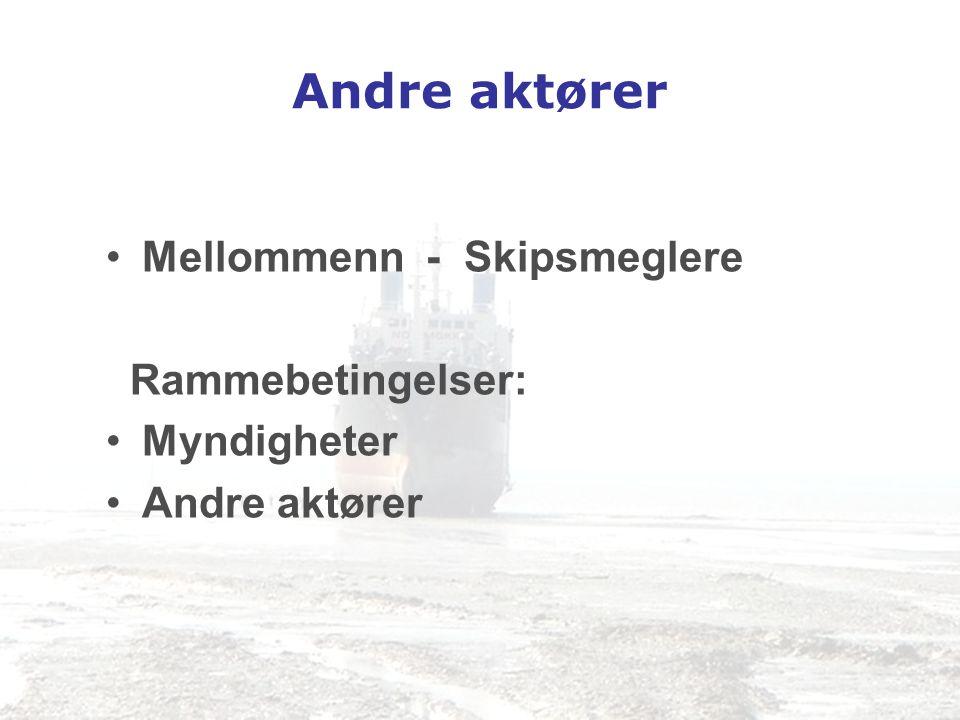 Andre aktører •Mellommenn - Skipsmeglere Rammebetingelser: •Myndigheter •Andre aktører