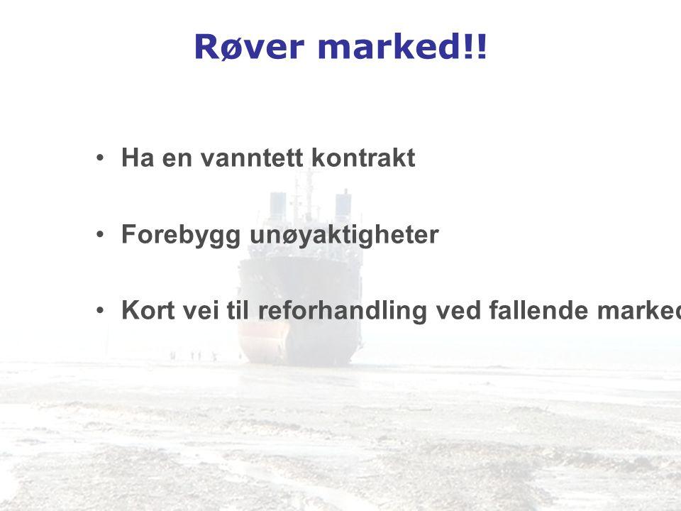 Røver marked!! •Ha en vanntett kontrakt •Forebygg unøyaktigheter •Kort vei til reforhandling ved fallende marked