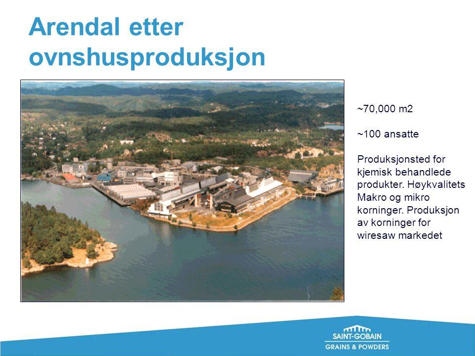 Arendal etter ovnshusproduksjon ~70,000 m2 ~100 ansatte Produksjonsted for kjemisk behandlede produkter. Høykvalitets Makro og mikro korninger. Produk