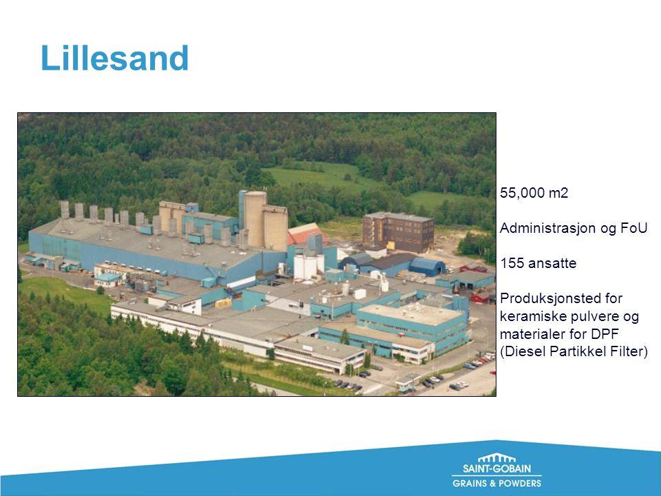Lillesand 55,000 m2 Administrasjon og FoU 155 ansatte Produksjonsted for keramiske pulvere og materialer for DPF (Diesel Partikkel Filter)