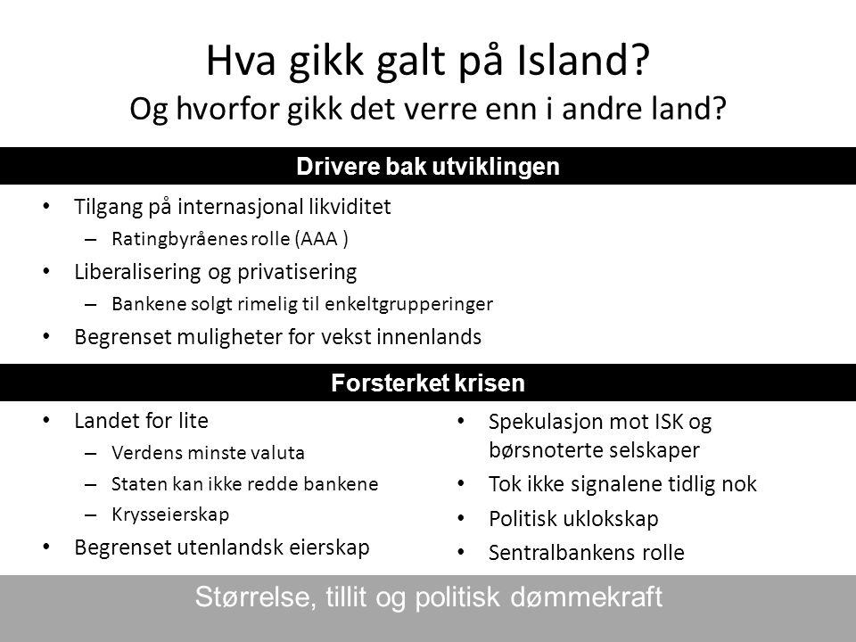 Hva gikk galt på Island? Og hvorfor gikk det verre enn i andre land? • Landet for lite – Verdens minste valuta – Staten kan ikke redde bankene – Kryss