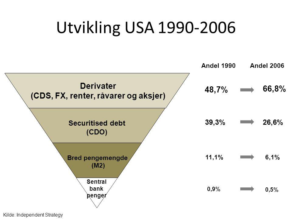 Utvikling USA 1990-2006 Andel 1990 48,7% 39,3% 11,1% 0,9% 66,8% 26,6% 6,1% 0,5% Andel 2006 Kilde: Independent Strategy Sentral bank penger Bred pengem