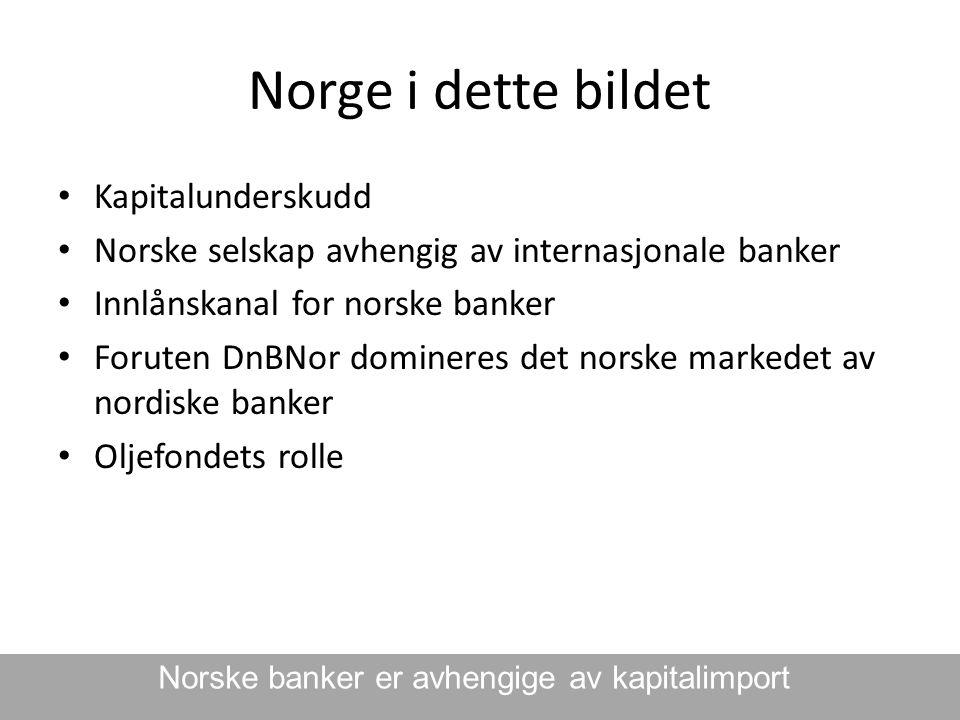 Norge i dette bildet • Kapitalunderskudd • Norske selskap avhengig av internasjonale banker • Innlånskanal for norske banker • Foruten DnBNor dominere