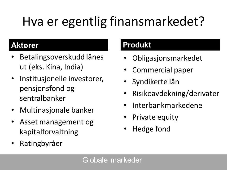 Hva er egentlig finansmarkedet? Aktører • Betalingsoverskudd lånes ut (eks. Kina, India) • Institusjonelle investorer, pensjonsfond og sentralbanker •