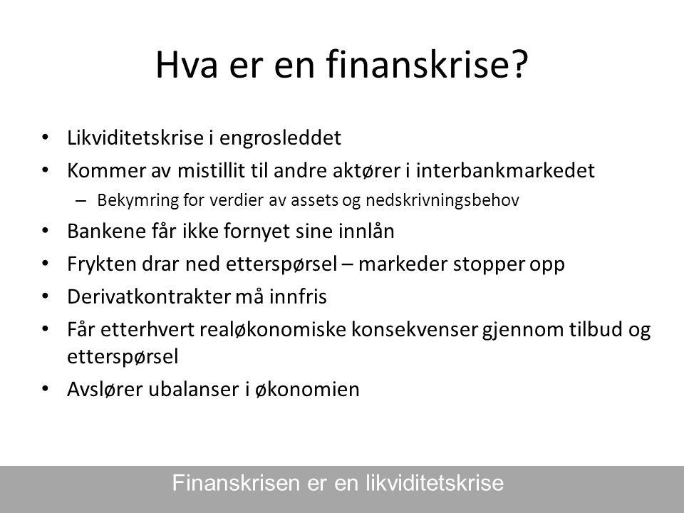 Hva er en finanskrise? • Likviditetskrise i engrosleddet • Kommer av mistillit til andre aktører i interbankmarkedet – Bekymring for verdier av assets