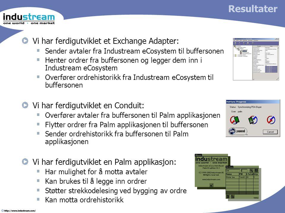 Resultater Vi har ferdigutviklet et Exchange Adapter:  Sender avtaler fra Industream eCosystem til buffersonen  Henter ordrer fra buffersonen og leg