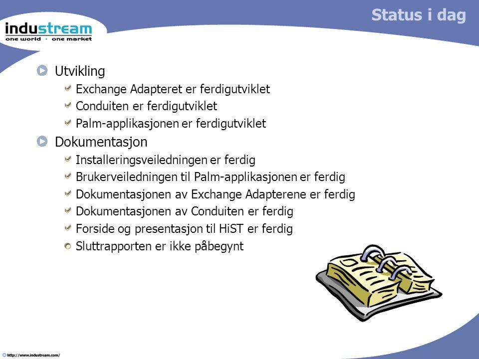 Status i dag Utvikling Exchange Adapteret er ferdigutviklet Conduiten er ferdigutviklet Palm-applikasjonen er ferdigutviklet Dokumentasjon Installerin