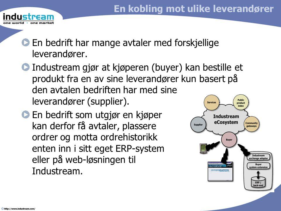 En kobling mot ulike leverandører En bedrift har mange avtaler med forskjellige leverandører.