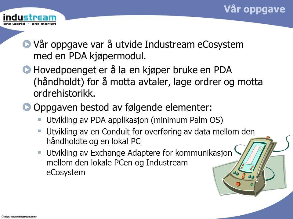 Vår oppgave Vår oppgave var å utvide Industream eCosystem med en PDA kjøpermodul. Hovedpoenget er å la en kjøper bruke en PDA (håndholdt) for å motta