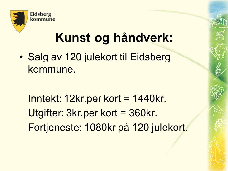 Kunst og håndverk: •Salg av 120 julekort til Eidsberg kommune. Inntekt: 12kr.per kort = 1440kr. Utgifter: 3kr.per kort = 360kr. Fortjeneste: 1080kr på