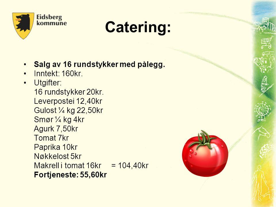 Catering: •Salg av 16 rundstykker med pålegg. •Inntekt: 160kr. •Utgifter: 16 rundstykker 20kr. Leverpostei 12,40kr Gulost ¼ kg 22,50kr Smør ¼ kg 4kr A