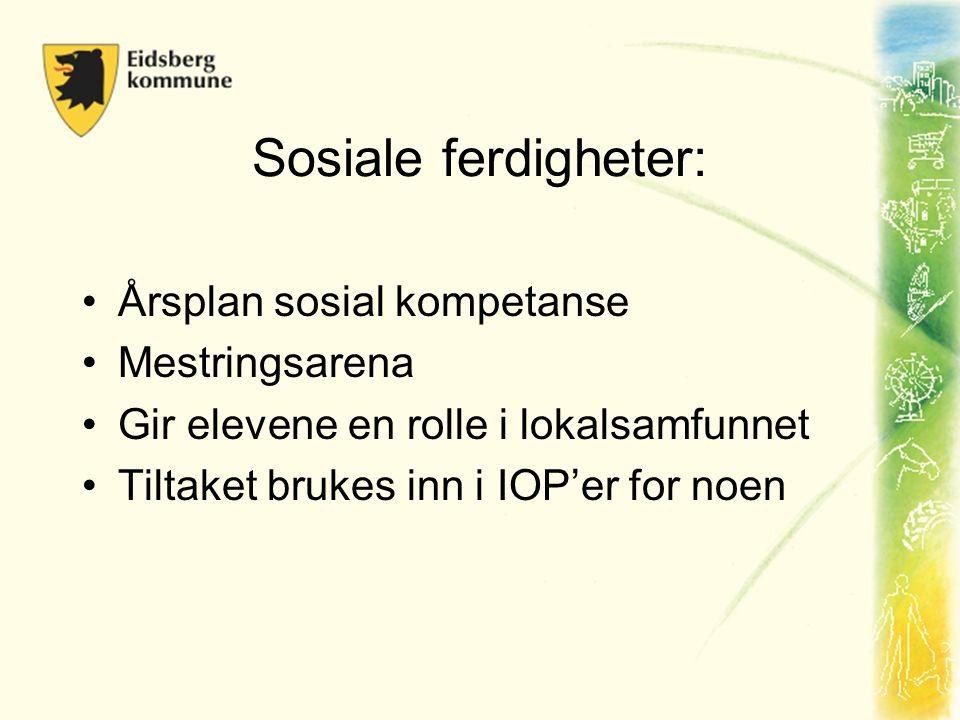 Sosiale ferdigheter: •Årsplan sosial kompetanse •Mestringsarena •Gir elevene en rolle i lokalsamfunnet •Tiltaket brukes inn i IOP'er for noen