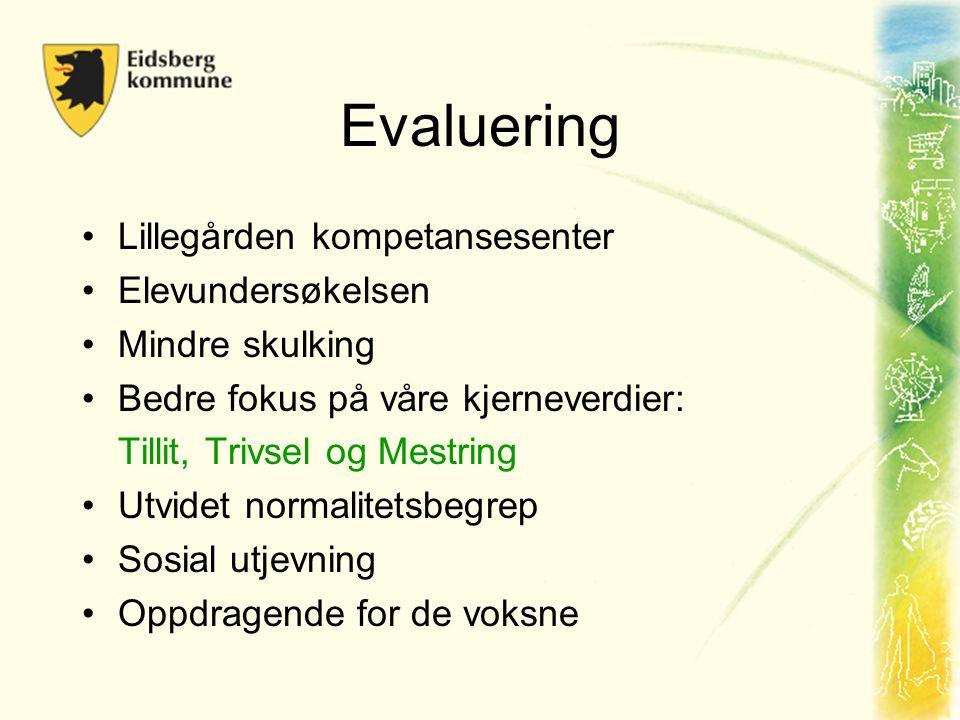 Evaluering •Lillegården kompetansesenter •Elevundersøkelsen •Mindre skulking •Bedre fokus på våre kjerneverdier: Tillit, Trivsel og Mestring •Utvidet