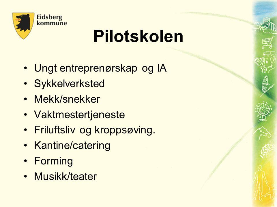 Pilotskolen •Ungt entreprenørskap og IA •Sykkelverksted •Mekk/snekker •Vaktmestertjeneste •Friluftsliv og kroppsøving. •Kantine/catering •Forming •Mus