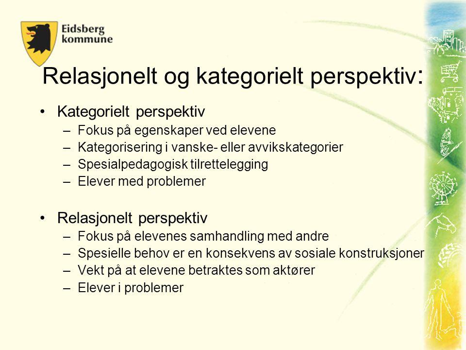 Relasjonelt og kategorielt perspektiv : •Kategorielt perspektiv –Fokus på egenskaper ved elevene –Kategorisering i vanske- eller avvikskategorier –Spe